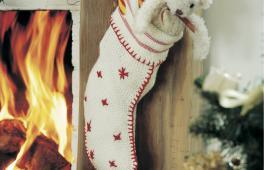 Chaussette de Noël au coin du feu