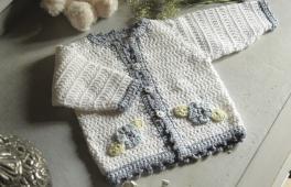 veste fleurie tricotée à la main
